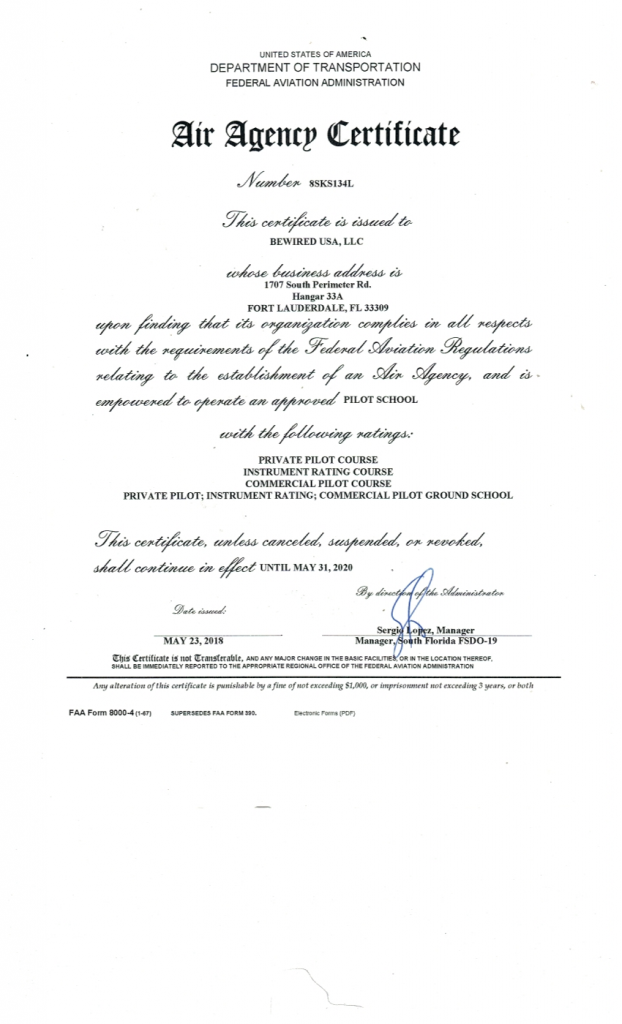 Part 141 certificate upgraded!